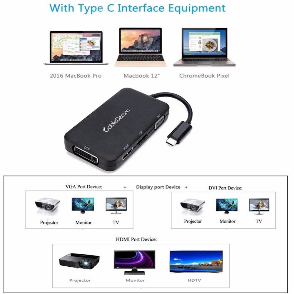 Thunderbolt 3 док-станция типа c к hdmi vga адаптер usb-c многопортовый концентратор dvi displayport dp usb3.0 usb3.1 сплиттер для macbook pro 2017
