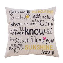 Housse de coussin en coton lin   45x45cm, You Are My Sunshine lettres, couverture décorative pour oreillers et lettres pour canapé, voiture
