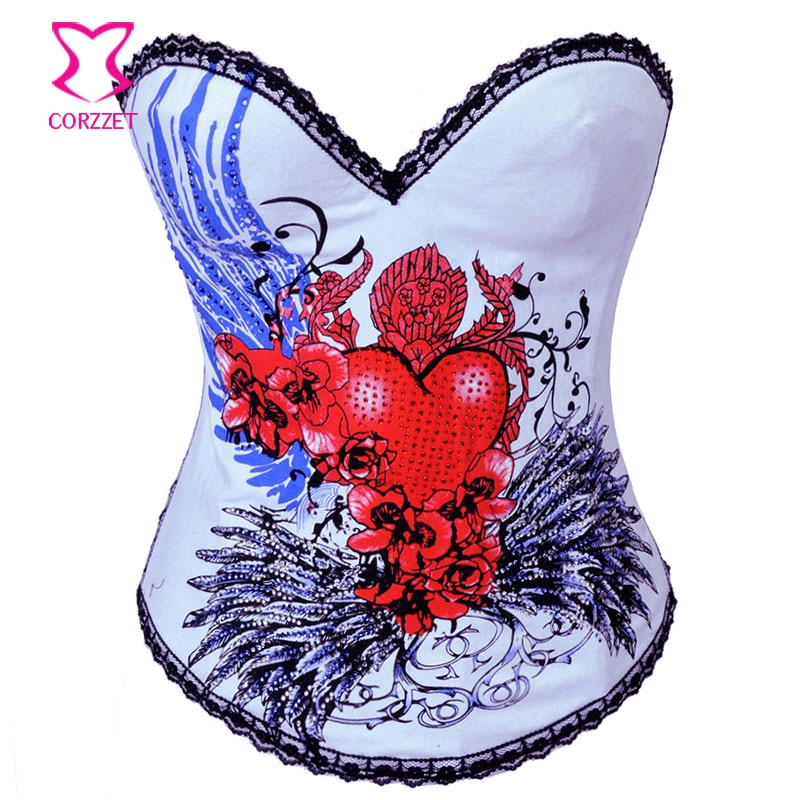 2269 # Sexy Floral/estampado de corazón de algodón Overbust gótico corsé Corpete Underwire Copa Push Up corsés Burlesque Korsett para las mujeres