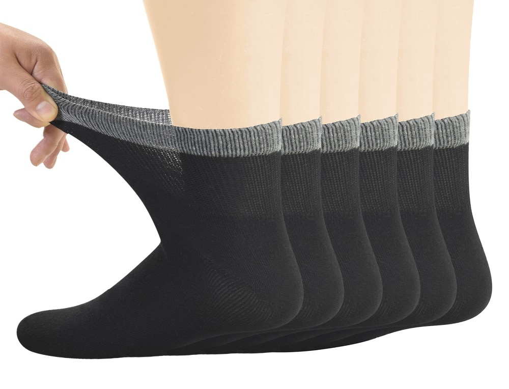 Men's Bamboo Diabetic Ankle Socks with Seamless Toe and Non-Binding Top,6 Pairs L Size(10-13)