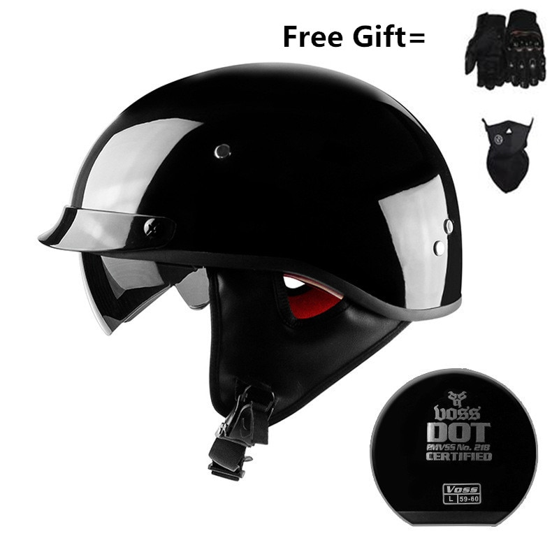 Skull Cap Motorcycle Helmet Vintage Half Face Helmet Retro German Style chopper Cruiser with gloves and mask and neckehief gift new german motorcycle wwii style half helmet chopper biker pilot goggles open face moto motocicleta with free goggle and mask