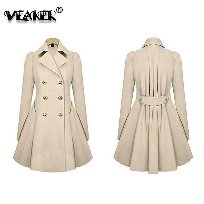 Autumn Fashion Women Trench Coat Fashion Slim Solid Double Breasted Ties medium-long wind-breaker va