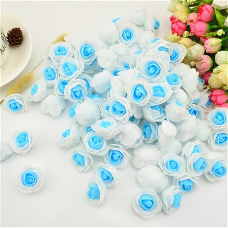 20 piezas 3cm azul PE Rosa cabeza de espuma Rosa Artificial flor ramo Multicolor Rosa boda Rosa decoración flor falsa para álbum de recortes