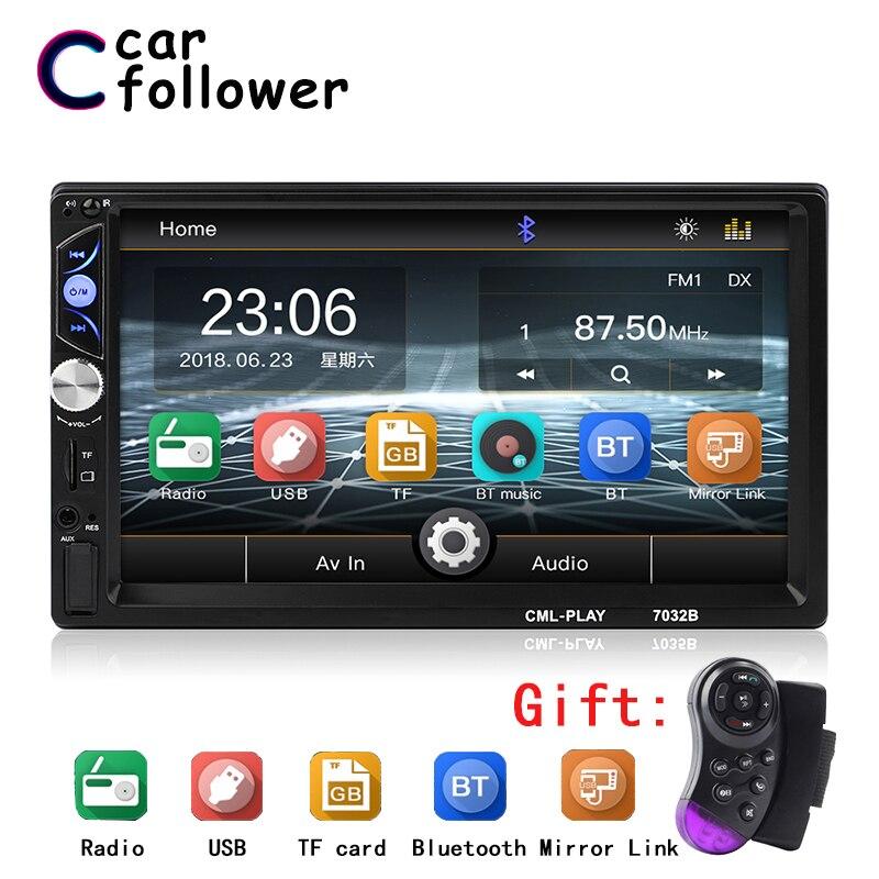 """2 Din Car Radio 7"""" HD Touch Screen Digital Display Car Mirrorlink Player 2din Autoradio Bluetooth AUX USB Multimedia MP5 Player"""