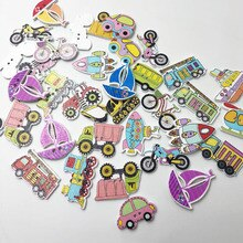 Joli moyen de transport décoratif mélangé aléatoire   100 pièces, 2 trous, boutons de bois à coudre, plat, Scrapbooking, WB596, livraison gratuite