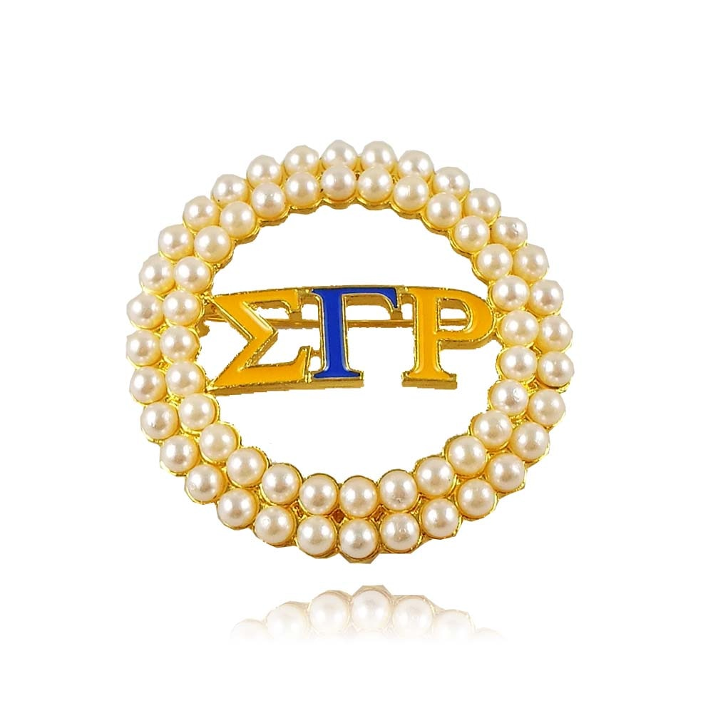 Broche de perla grande redondo griego dorado Sigma Gamma Rho