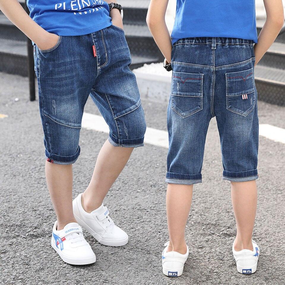Nowy styl 2019 Casual Mid Jeans chłopcy spodenki dla dzieci spodnie dla dzieci bawełna Denim spodnie wysokiej jakości moda lato nastolatek spodenki