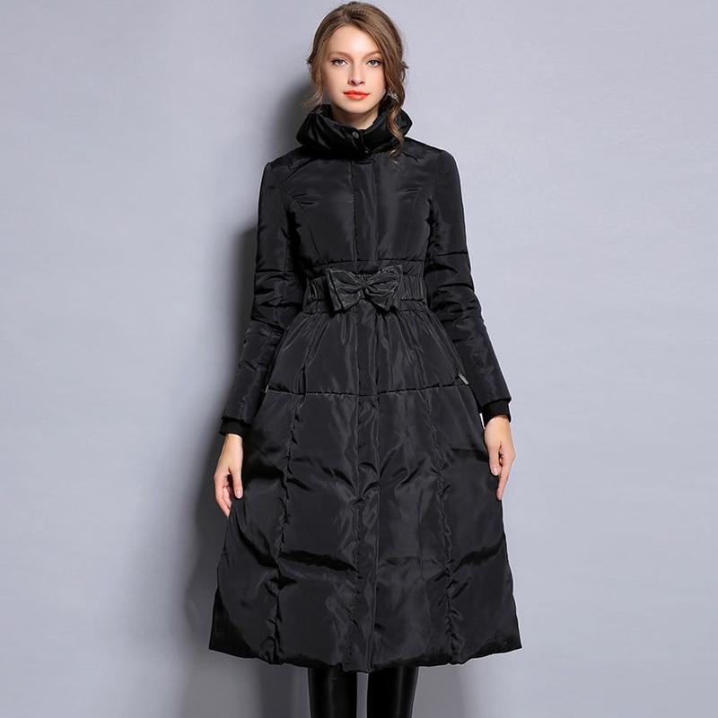 New Winter Collection Women Warm Down Coat Elegant Black Waist Bow Female Extra Long Slim Jackets Windproof AO042