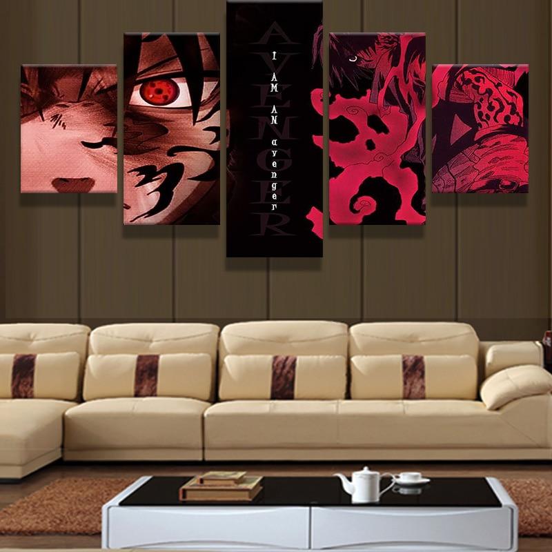 5 piezas HD impresión lienzo pintura dibujos animados Naruto imagen para dormitorio decorativo moderno sala de estar pared arte Decoración