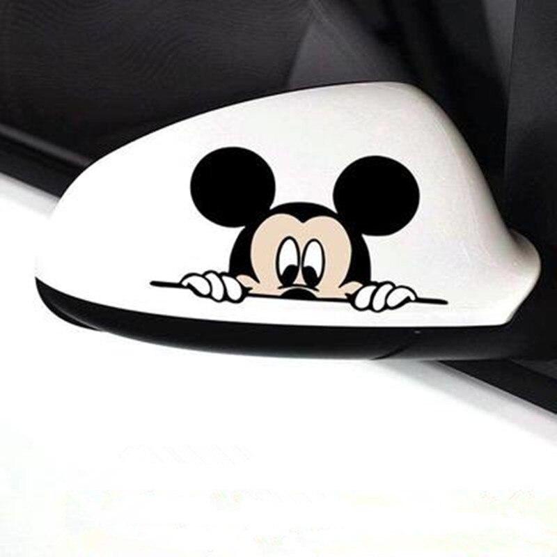 Lustige Auto Aufkleber Nette Mickey Minnie Maus Peeping Abdeckung Kratzer Cartoon Rückspiegel Aufkleber Für Motorrad
