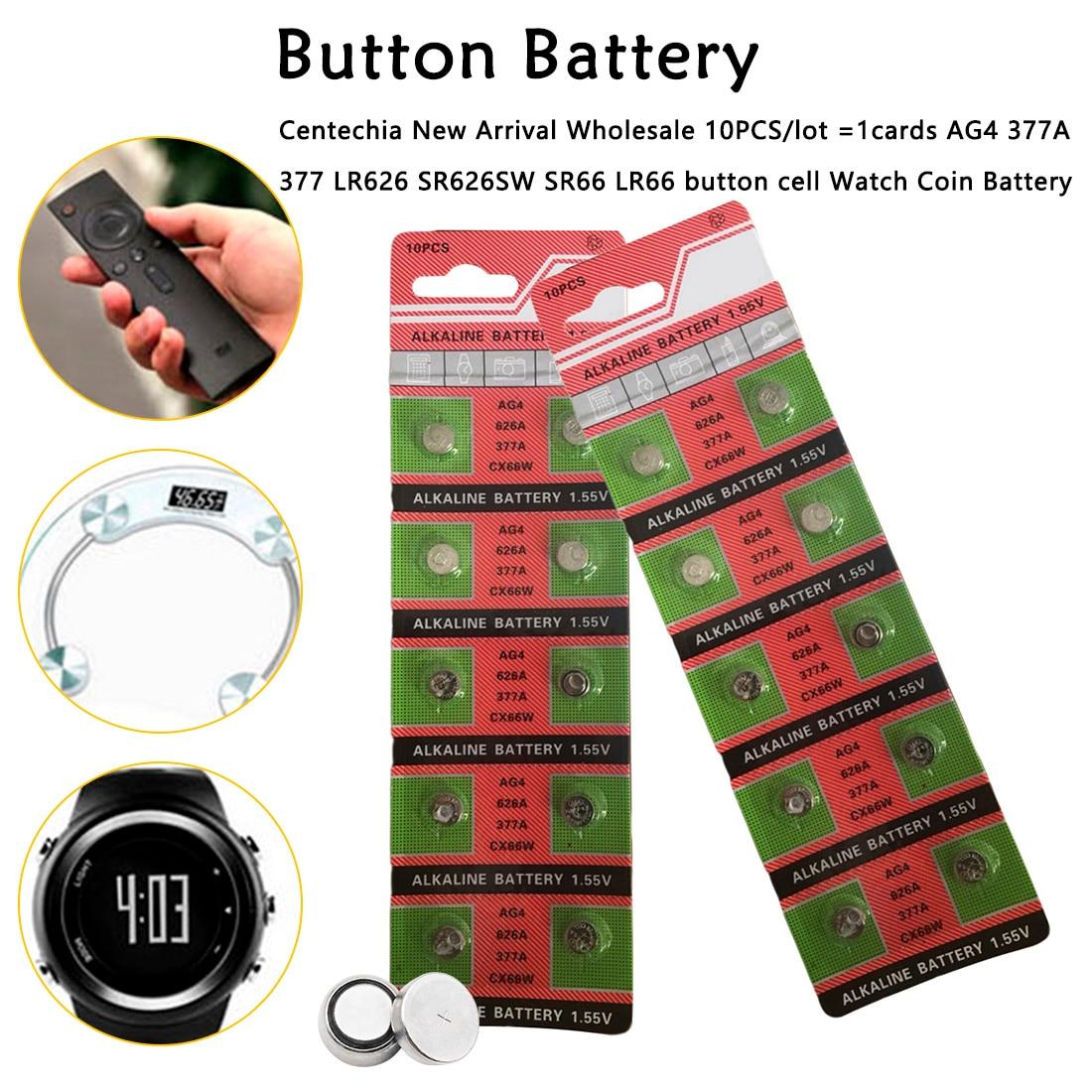 Poderoso 10 Uds x AG4 377A 377 LR626 SR626SW SR66 LR66 reloj batería Tianqiu la marca de baterías