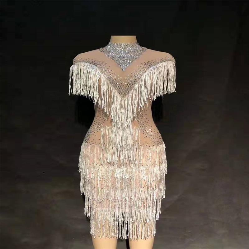 D35 Singer trajes de baile de salón bar mujeres borla flecos vestido de malla brillante falda de diamantes de imitación ver a través del traje clothe club