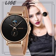 LIGE Womens Watches Top Brand Luxury Waterproof Watch Fashion Ladies Stainless Steel Ultra-Thin Casual Wrist Watch Quartz Clock