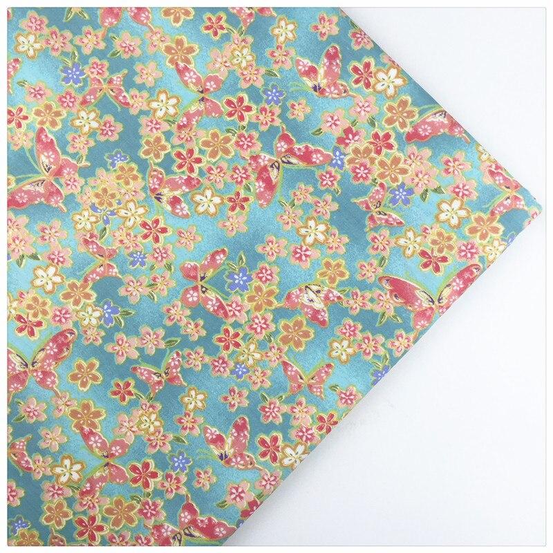 Syunss, estampado de mariposa azul, tela de algodón 100% para coser, ropa de cama de juguete para bebé, tela para acolchar, manualidades, tela para patchwork DIY