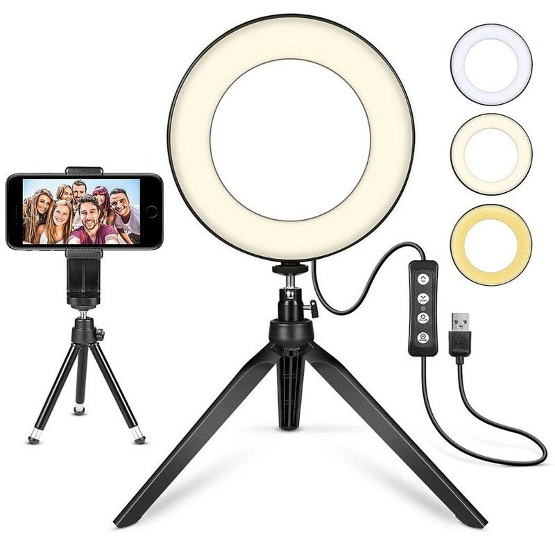 Anillo de luz LED para Selfie de 5 pulgadas, soporte para teléfono, soporte para YouTube, vídeo, maquillaje, fotografía, Flash, Mini cámara, lámpara brillante, 3 modos