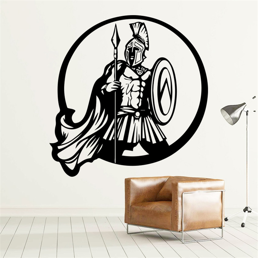 Nuevo diseño, Guerrero espartano, decoración del hogar, vinilo soldado, pegatina de pared, héroe desmontable, aplique espartano, decoración de habitación de niño, pegatina de pared
