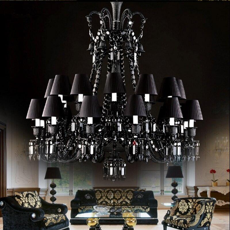 أسود كريستال أضواء الثريا الفاخرة فندق الثريات غرفة المعيشة شفافة الثريا أضواء LED الدرج مصابيح من الكريستال