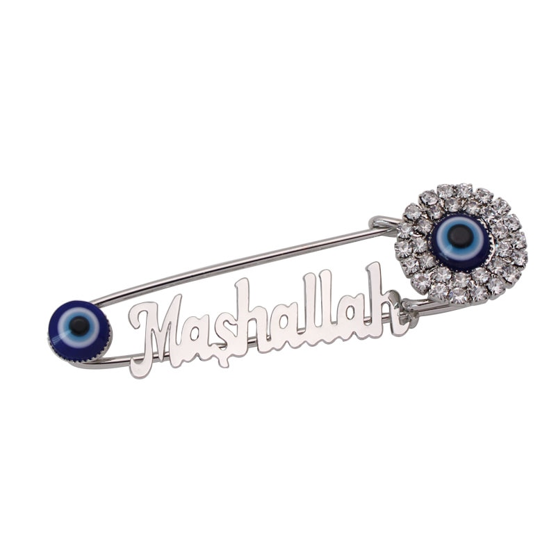 Muçulmano islão Mashallah turquia evil eye Aço Inoxidável cristal broche Pin Bebê
