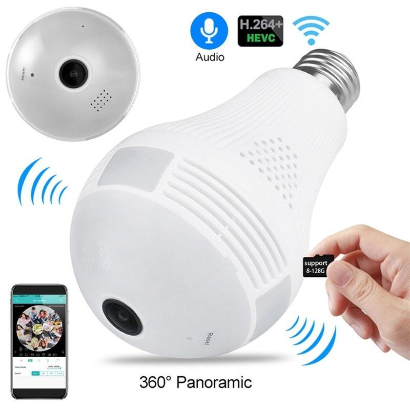 لمبة مصباح واي فاي كاميرا مع الصوت 1080P HD 360 درجة داخلي فيش كاميرا منزلية لاسلكية للرؤية الليلية دعم 128GB للهاتف PC