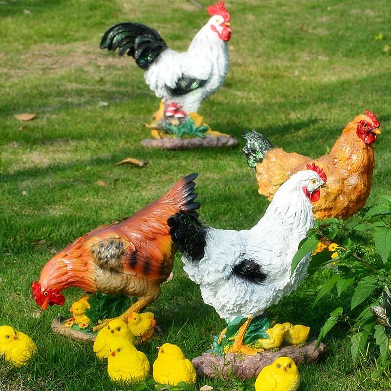 Escultura de gallina Gallo decoración animal gallina estatuas césped jardín adornos artesanía resina pollo figurita