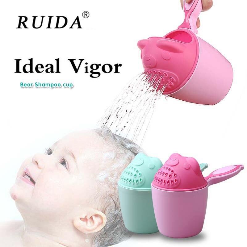 Bebé de dibujos animados baño de ducha cuchara para agua Animal lindo cuchara niños lavar el pelo Copa champú achicador de lavar la cabeza flotante juguete