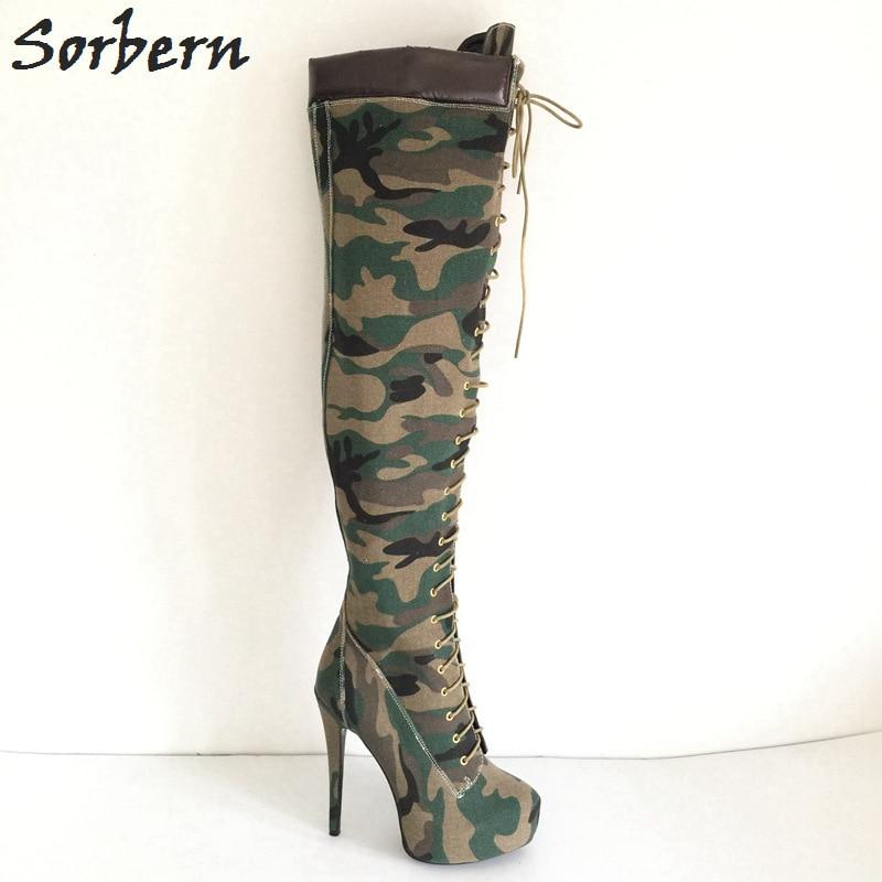 Sorbern-حذاء نسائي أخضر مموه فوق الركبة ، حذاء شتوي ، كعب عالي للغاية ، مقاس 33-46