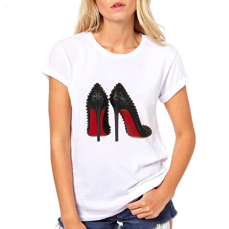 Nueva camiseta blanca de moda para mujer, camiseta de manga corta con estampado de tacones altos, divertida camiseta de verano a la moda de princesa, Tops femeninos baratos