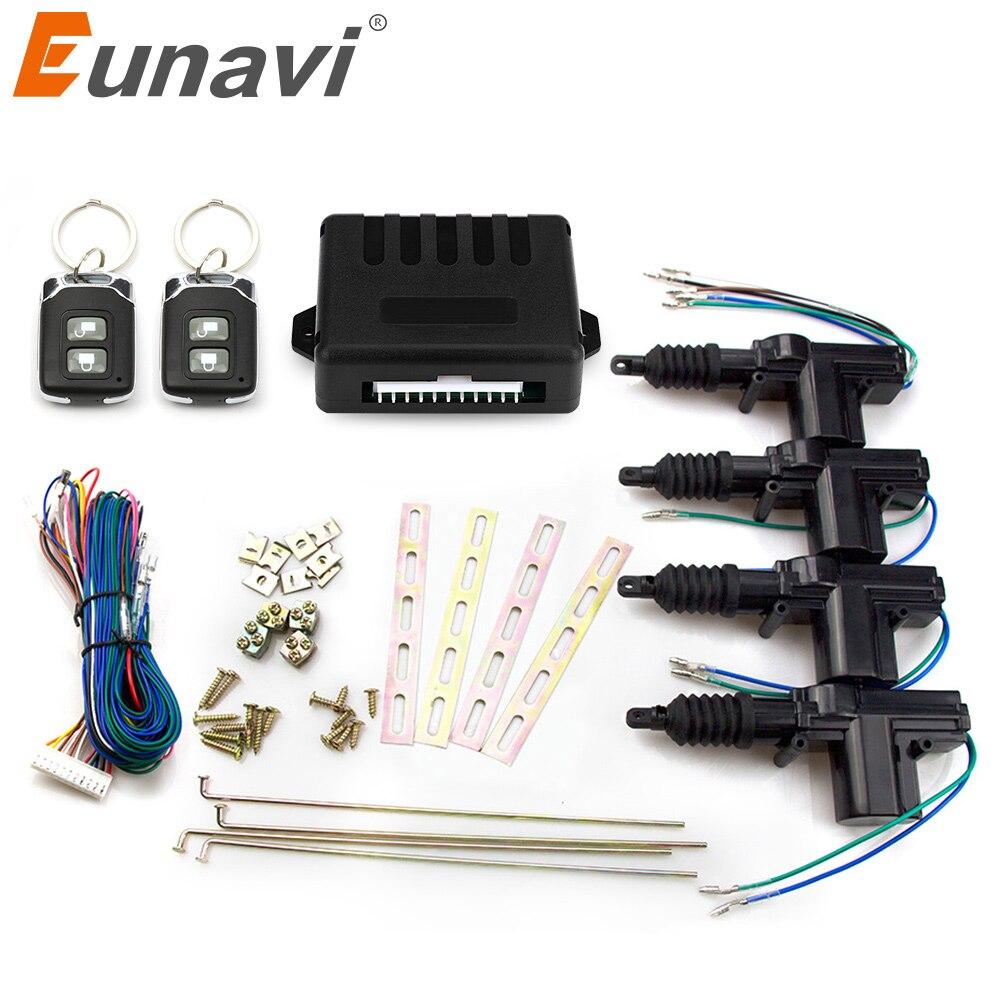 Eunavi universal de la energía del coche de la cerradura de la puerta del actuador de Central de control remoto sistema de bloqueo de entrada sin llave del Motor 12V (paquete de 4)