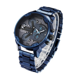 2019 Cagarny Fashion Trend 7414 Two Time for Men's Sports Military Quartz Men's Watch Classic Blue Stainless Steel Strap Relogio