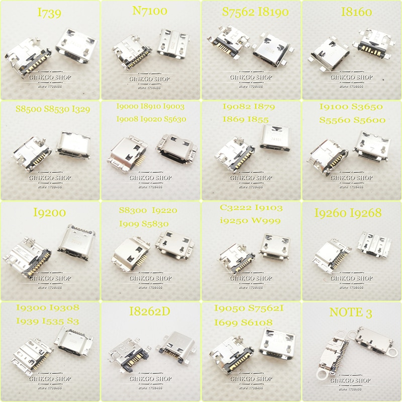 16 modelos 5 uds Cada teléfono móvil Micro USB Jack para Samsung note3 I9300 I8262D I8910 I9100 S5570 I9300 S7562 I9220 ect