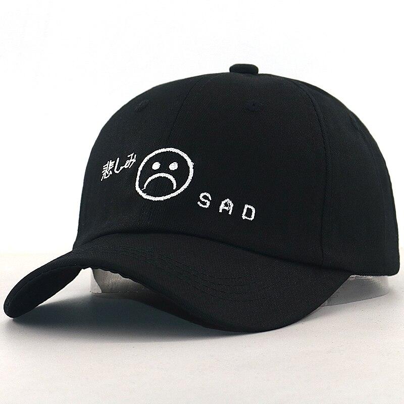 2019 nueva gorra de béisbol para niño triste 100% algodón ajustable a la moda cara triste papá sombrero hombres mujeres baile callejero negro gorras de hip hop