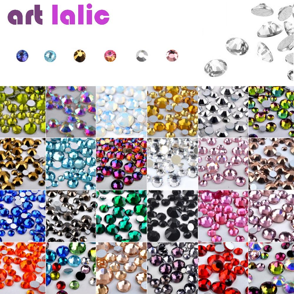 Nail Art Rhinestones 300pcs Mix SS4-SS16 Size Glass Flatback Crystal Non Hotfix Nail Rhinestone For Nails Art 3D Decorations