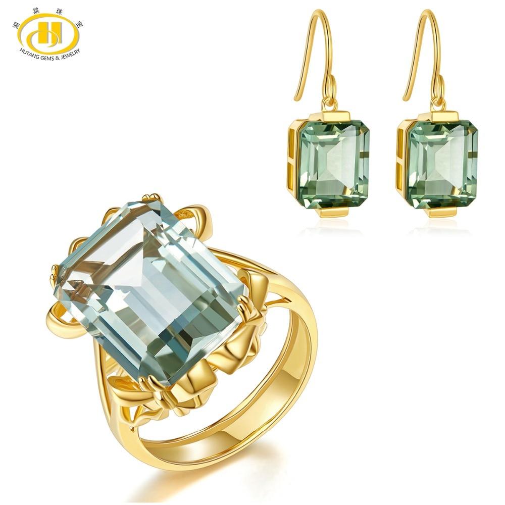 Juego de joyas de amatista verde Hutang, pendientes de piedras preciosas naturales, anillo sólida plata 925 oro amarillo, joyería fina de moda, nuevo