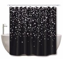 LB étoiles sur rideaux de douche noirs Extra longs   Rideau de salle de bains, tissu Polyester résistant à la moisissure et à leau pour décor de baignoire