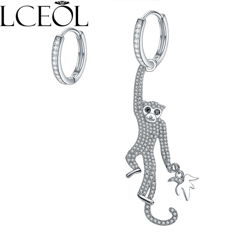 LCEOL marca Monaco selva Series joyería asimétrica pendientes de mono repleto de circonita incrustaciones de joyería de regalo pendiente de animal para las mujeres