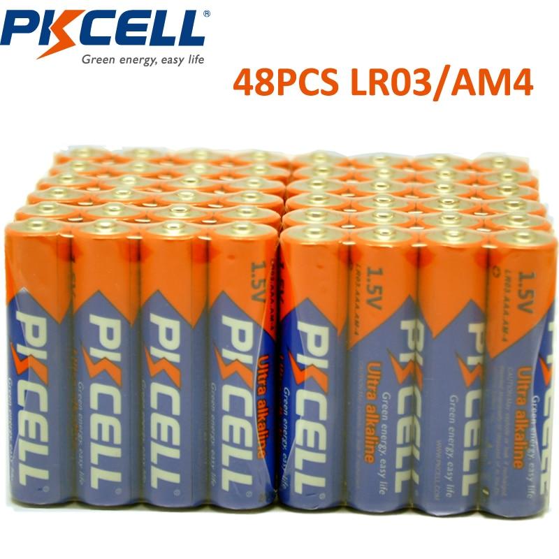 48 x PKCELL LR03 R03 1.5V AAA 배터리 알카라인 배터리 전기 장난감 손전등 시계 마우스 E92 am4에 대 한 수은 건전지 없음
