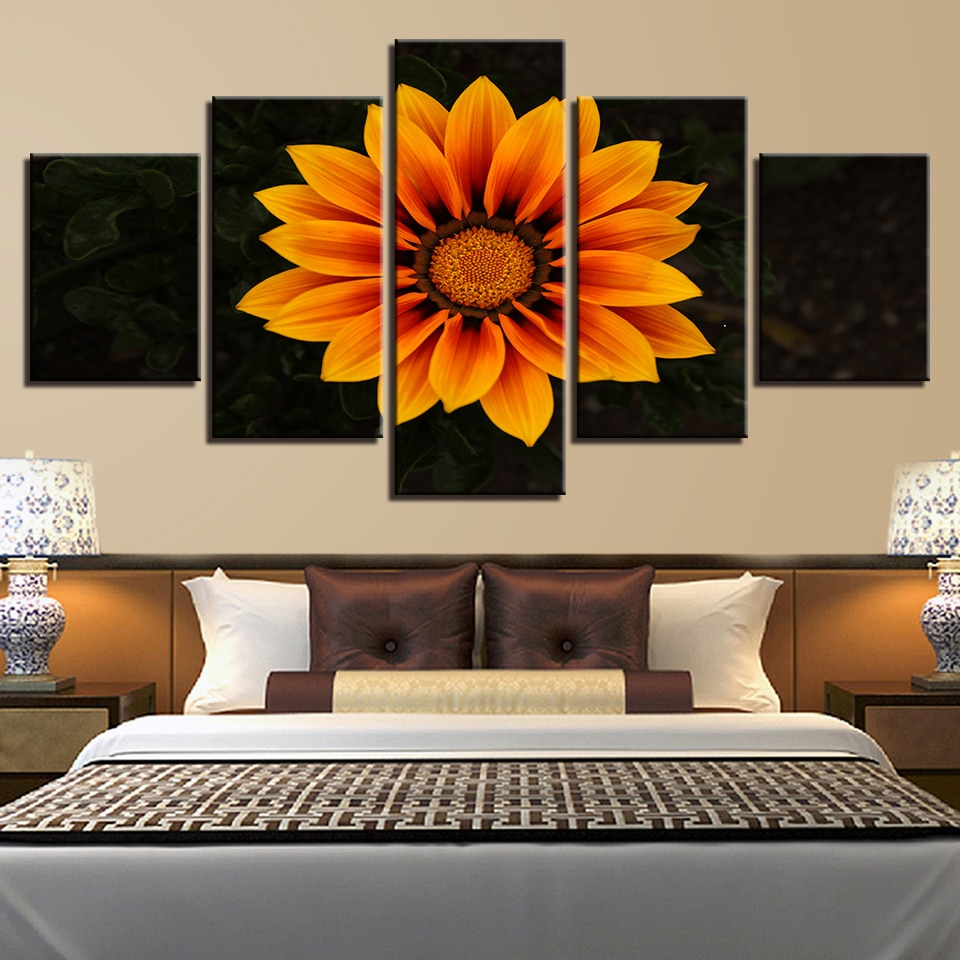 Póster de cuadros modulares de 5 piezas, cuadro con girasoles de naturaleza muerta, impreso en HD sobre lienzo, decoración de pared, sala de estar o dormitorio artístico