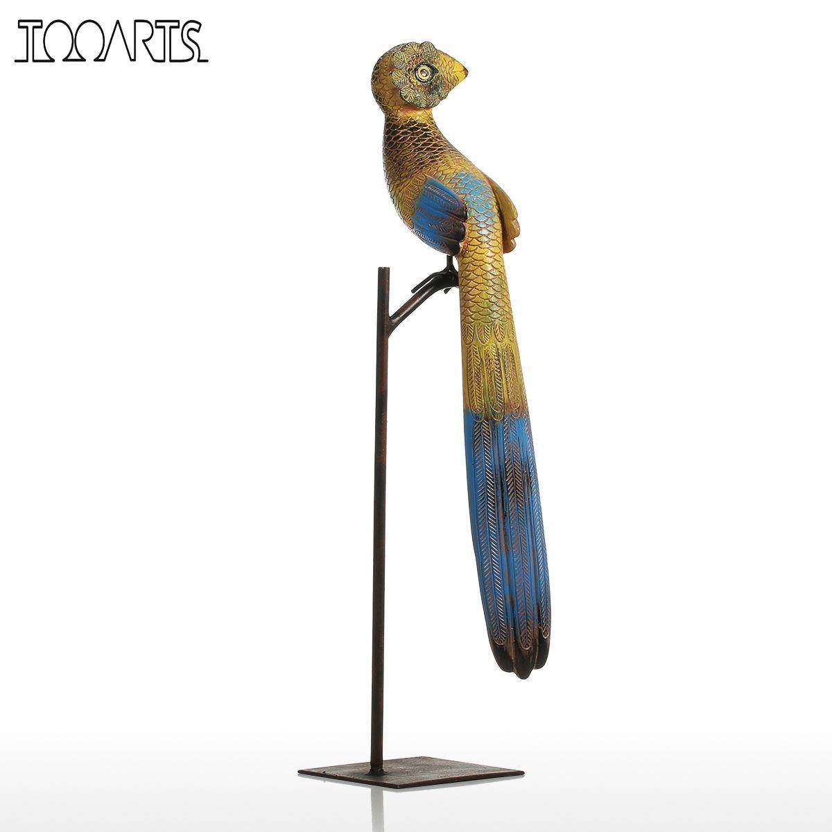 Tooarts escultura de resina de pájaro de cola larga, ornamento de fibra de vidrio, estatua de decoración para el hogar, figurita exagerada abstracta, arte moderno
