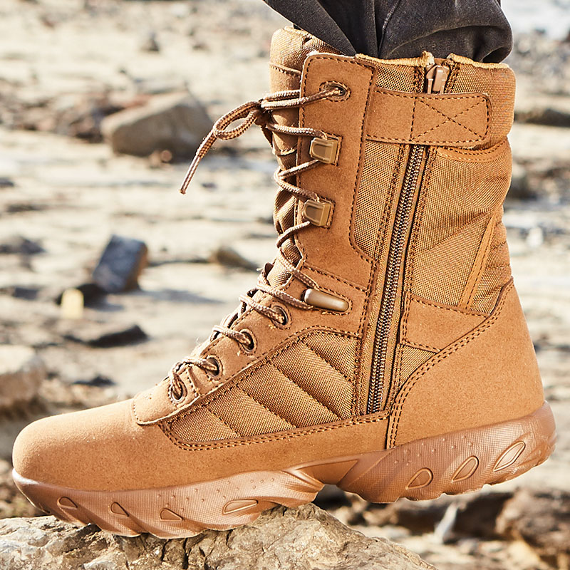 Men Military Quality Special Force Tactical Brown Combat Ankle Botas Army Work Shoes Sued Boots with Side Zipper jzb high quality men military boots special force tactical desert combat ankle botas army work safety shoes leather snow boots