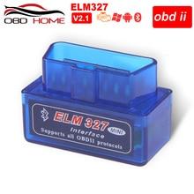 Accessoires de voiture OBD2 Mini Elm327 Bluetooth OBD2 V1.5 V2.1 Elm 327 V 1.5 OBD 2 Scanner doutil de Diagnostic de voiture Elm-327 adaptateur OBDII