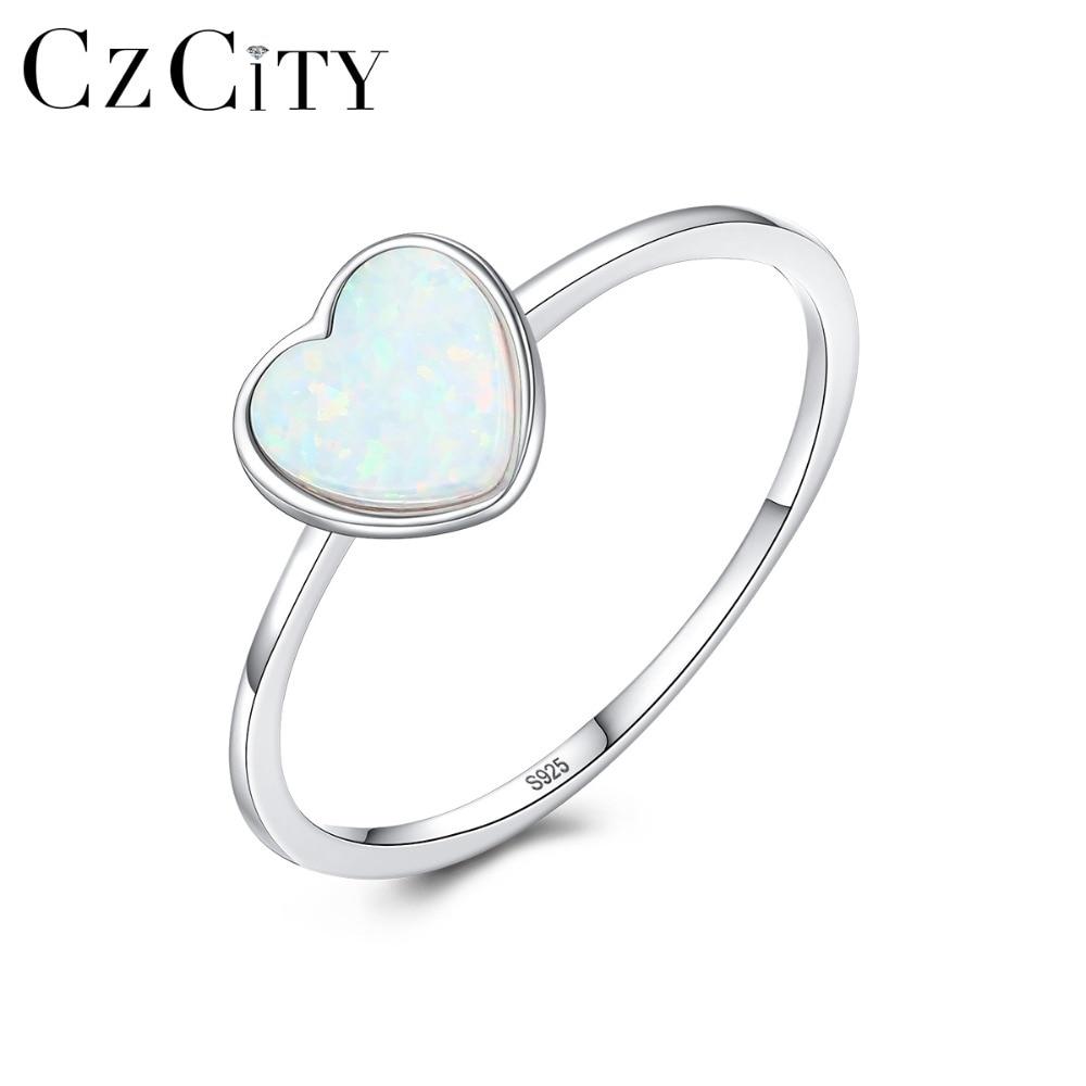 Anillos de ópalo de fuego CZCITY románticos de 7mm con forma de corazón para mujer, Plata de Ley 925, 3 colores Chic, anillos de compromiso de círculo Delgado, joyería fina