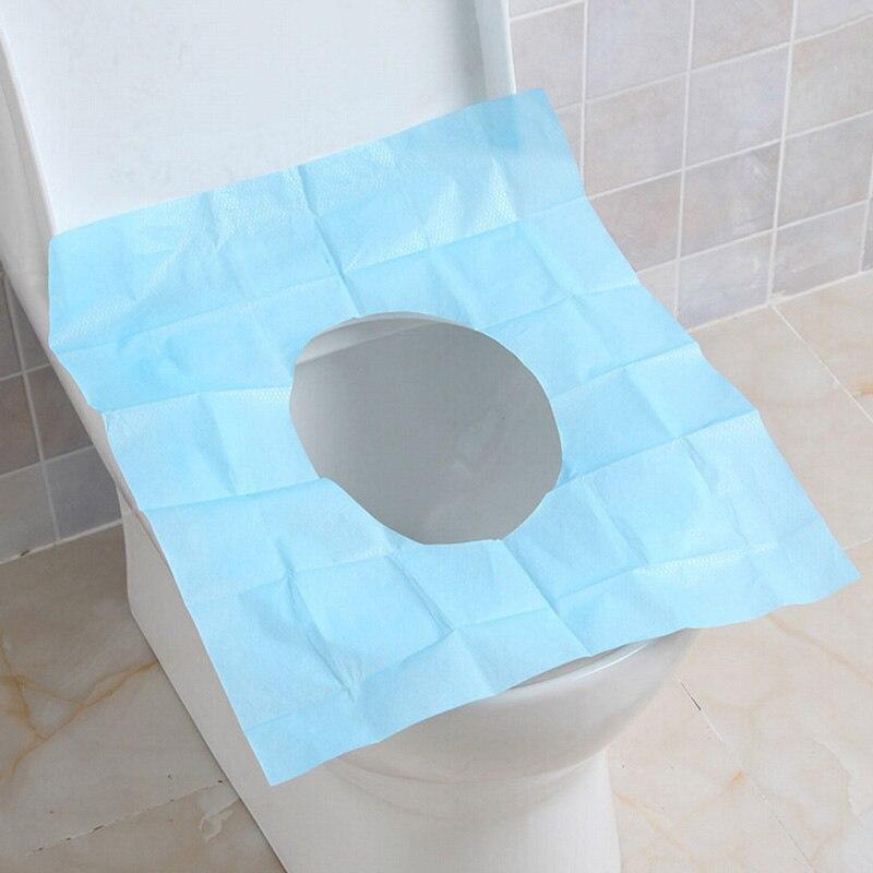 10 unids/lote de papel desechable para asiento de inodoro, funda para Camping, viaje, práctico, higiénico, impermeable, alfombrilla para inodoro, cojín