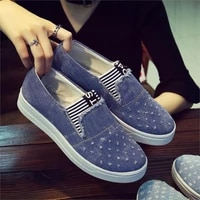 new flat shoes ladies school canvas casual flat soft and comfortable shoes work driving shoes classical denim fabric lightweight