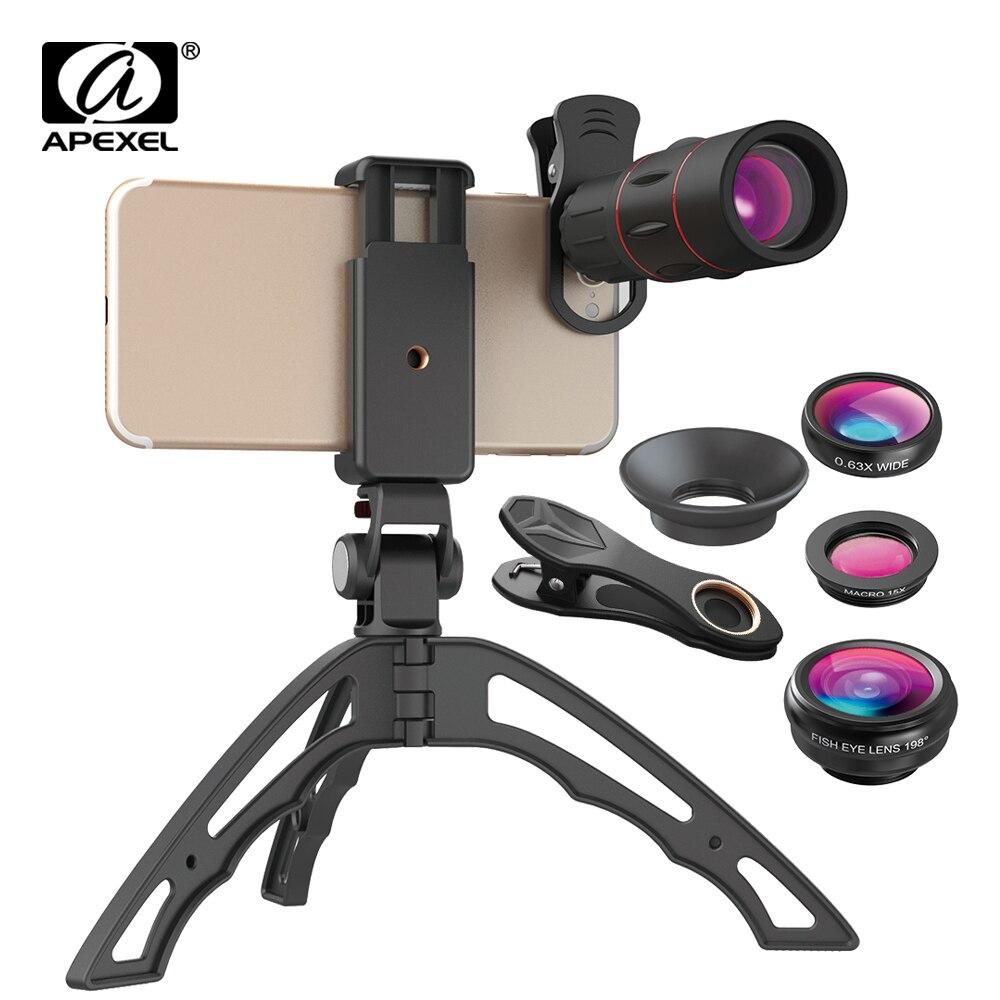 APEXEL 18X Telescópio Monocular + 3in1 Olho de Peixe Grande Lente Macro Lente Do Telefone + Tripé Selfie Com Bluetooth para iPhone Smartphones