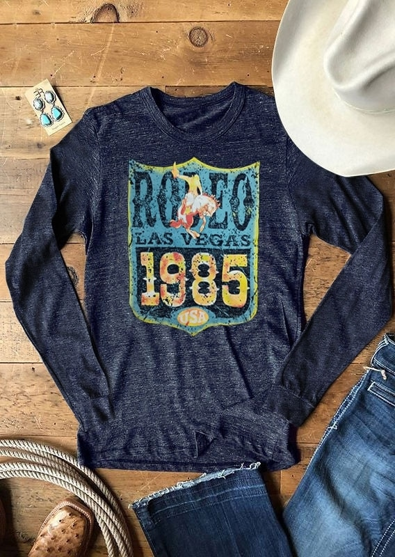 Fashion Women T-Shirt Full Long Sleeve Female Autumn t shirt Rodeo Las Vegas 1985 USA Print 2018 Casual T-Shirt Ladies Tops Tee