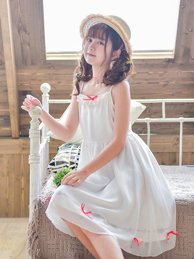 Mori Girl Japanese Spaghetti Strap Dress Cute Kawaii Teens Girls 2019 Spring Women's Harajuku Princess Fairy Student Dress