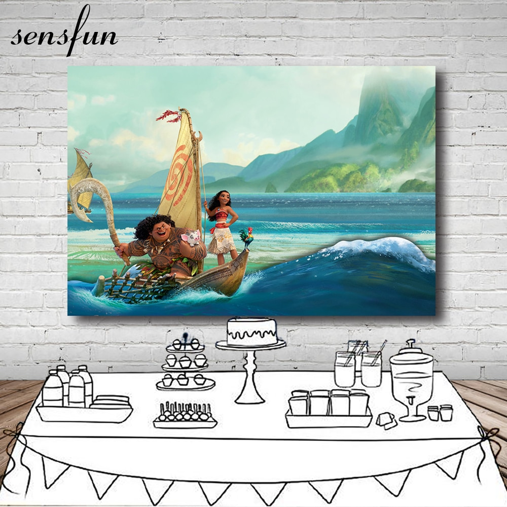 Sensfun Moana telón de fondo para estudio fotográfico Waialiki Maui Ocean fondos para fiesta de cumpleaños personalizado 7x5 pies vinilo
