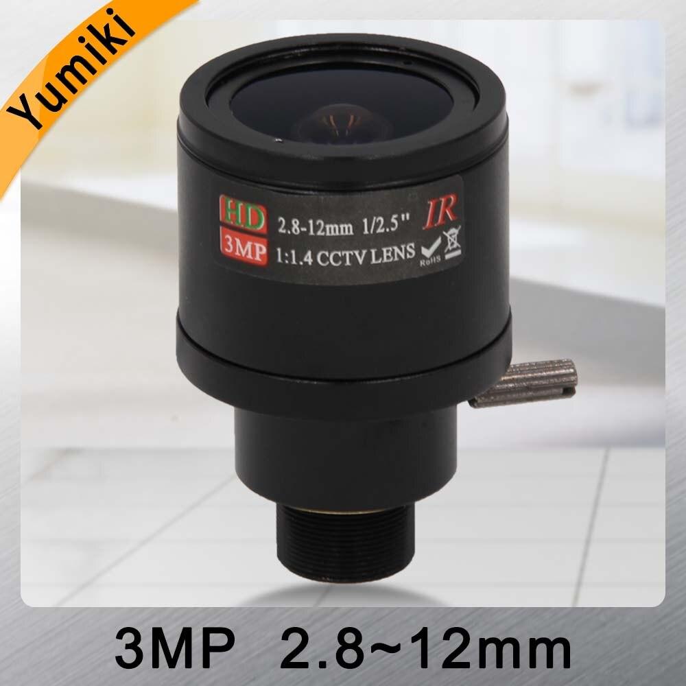 Yumiki 3.0 fixed iris Megapixel HD CCTV lente da câmera 2.8-12mm/lente varifocal IR câmera de segurança HD /manual zoom & foco M12 F1.4