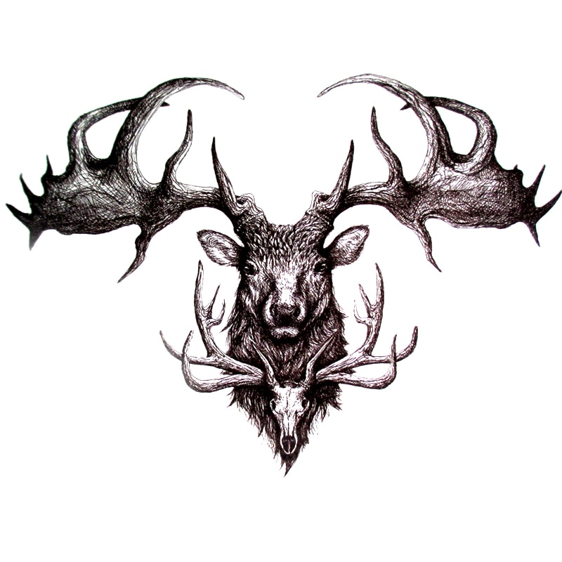 Tatuajes Temporales cráneo ciervo arte corporal Flash tatuajes adhesivos resistentes al agua tatuajes de Henna de alta calidad belleza tatuaje manga