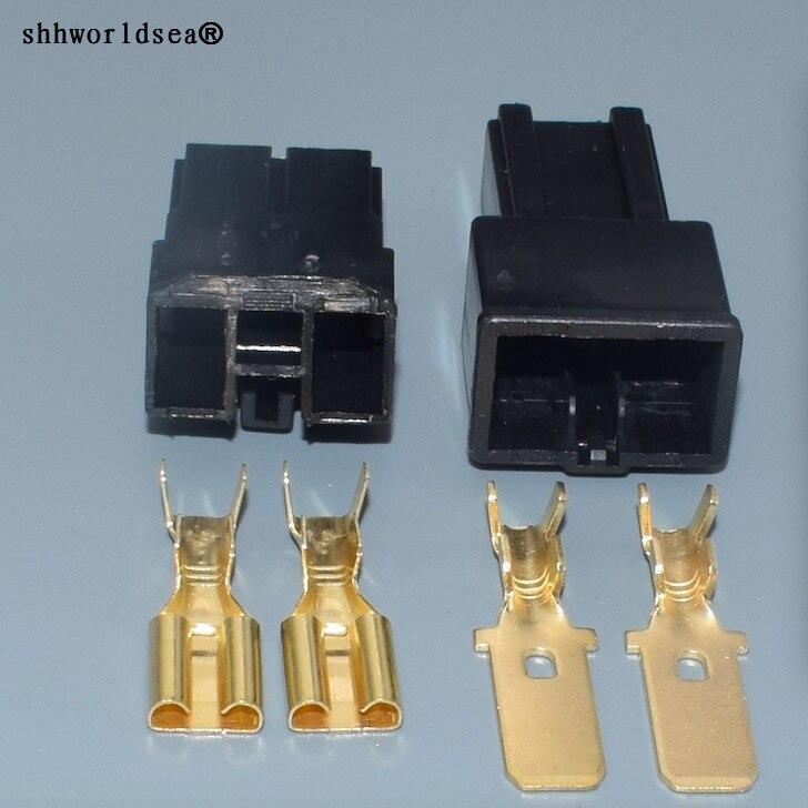 Shhworldsea 1 conjunto 2 pinos/forma fêmea macho conector automático bateria alto-falante grande corrente plug 7.8 series modificado para toyota mapa sensor